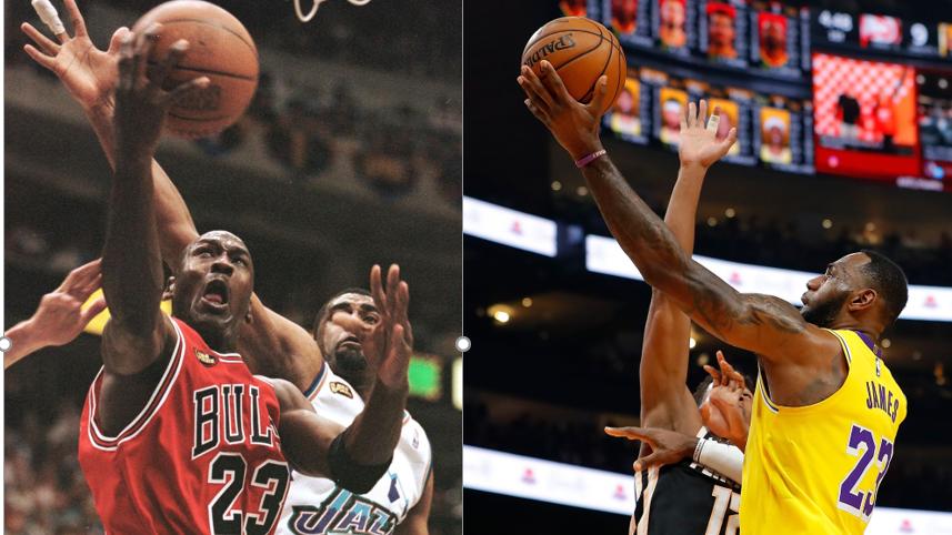 Michael Jordan, left, and LeBron James, right