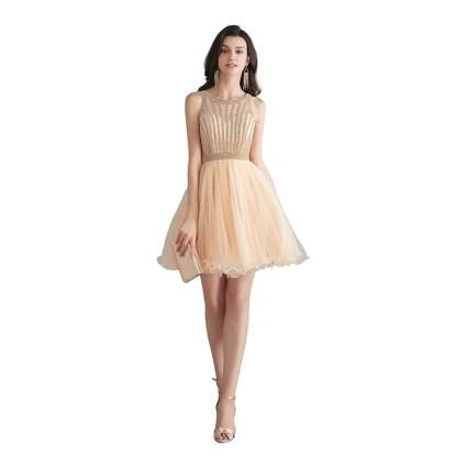 Champagne colored cocktail dress