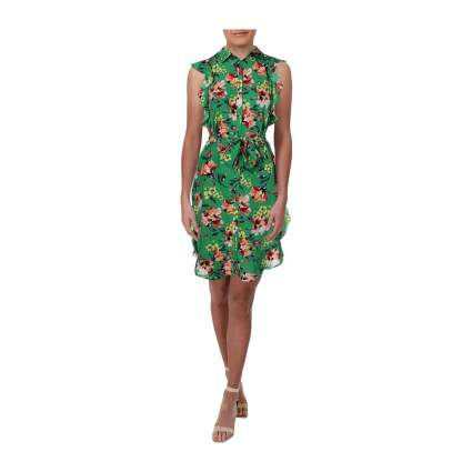 Green midi dress with floral print