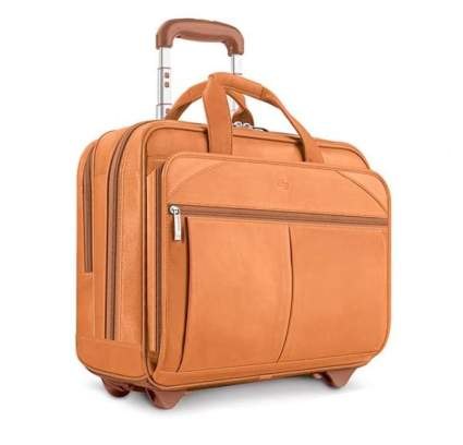 Solo New York Leather Rolling Overnight Laptop Bag