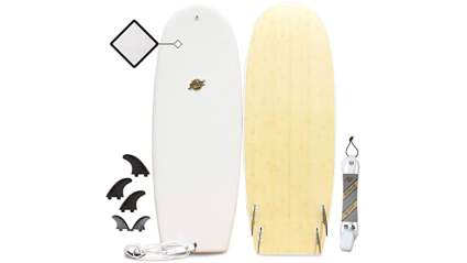 South Bay Board Co. - Hybrid Surfboards - Wax-Free Soft Top + Fiberglassed Bottom Deck Surfboard (4'10 Huevo - White, 4'10 Huevo - White)