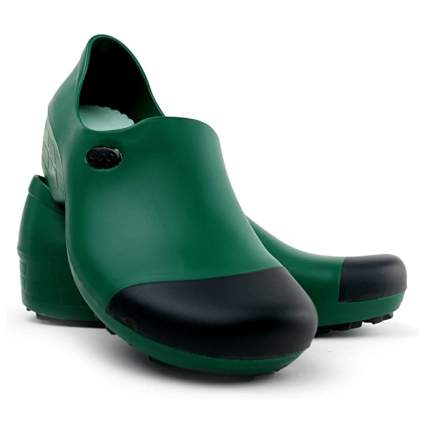 green stiff toe garden shoe