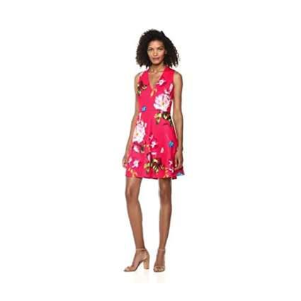 Red floral v-neck dress