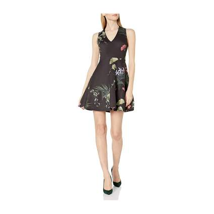 Dark fit and flare dress with flowers