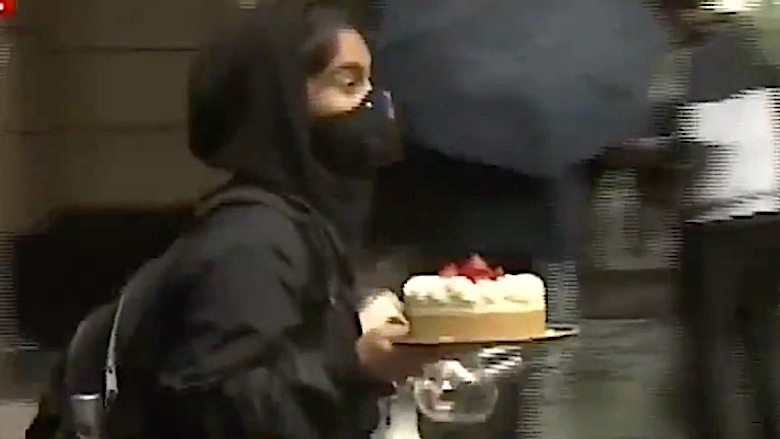 woman steals cheesecake