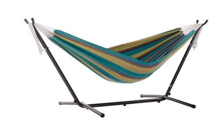 Vivere Sunbrella Double Hammock with Steel Stand