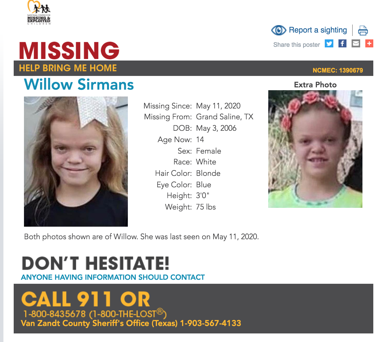 Willow Sirmans missing texas