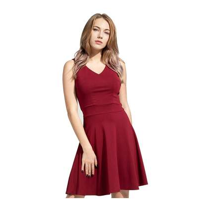 Woman in red cocktail dress