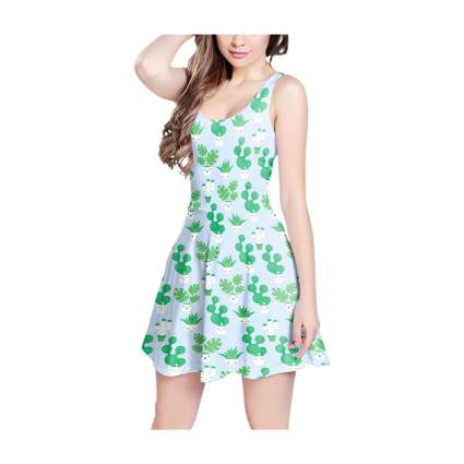 Light blue dress with cactus images