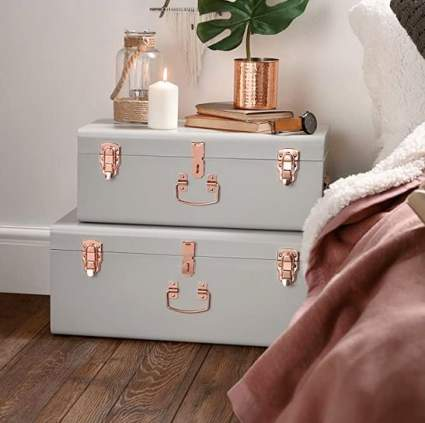 Beautify Gray Vintage Metal Trunk Set with Rose Gold Handles