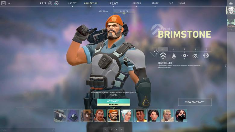 Brimstone agent select in Valorant
