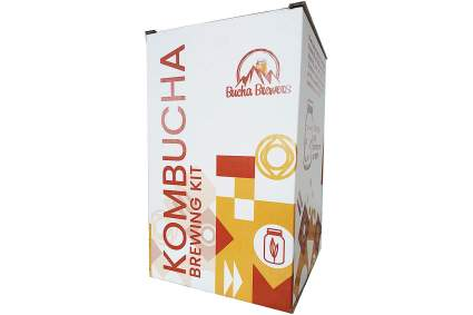 White and red box of kombucha brewing kit