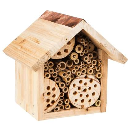 natural wood bee house