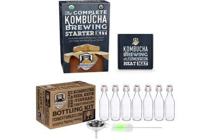 Kombucha brewing kit with swing top bottles