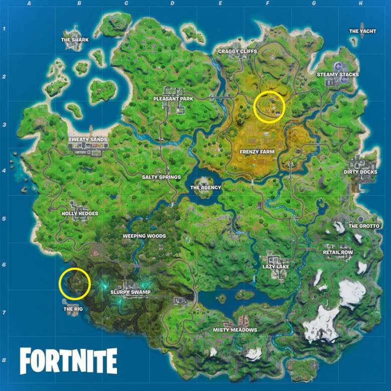 fortnite orchard shanty town locations