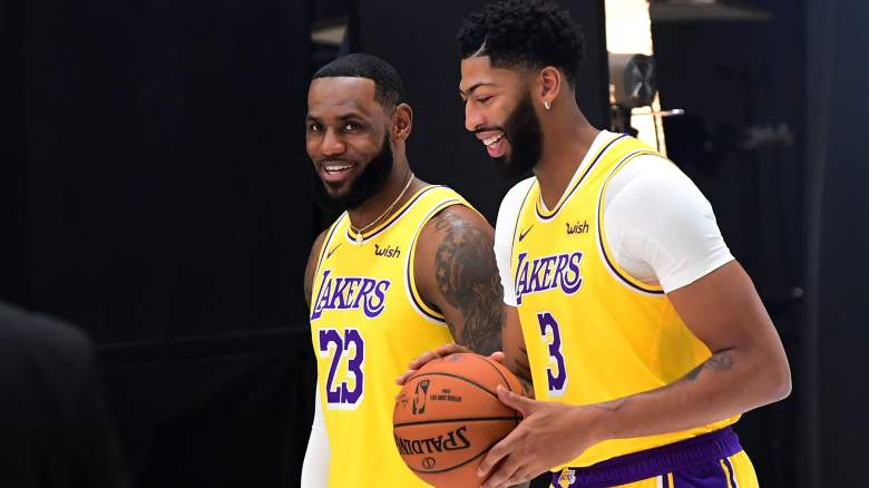 LeBron James, left, and Anthony Davis at the Lakers' practice facility