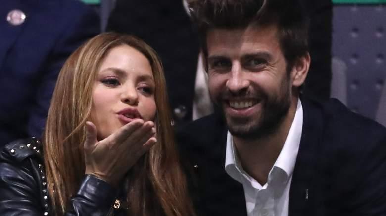 Singer Shakira (L) and her husband and footballer Gerard Pique of FC Barcelona (R)