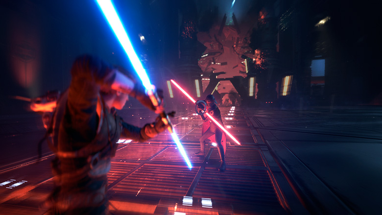 Cal Kestis and an Inquisitor in Star Wars Jedi Fallen Order