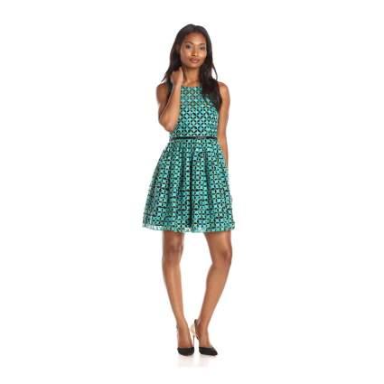 Woman in teal dress