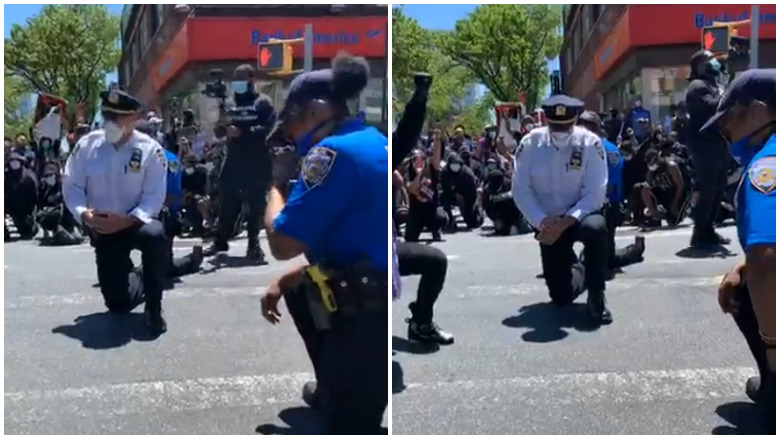 nypd officers kneeling