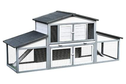 PawHut 91-Inch Deluxe Large Grey Chicken Coop