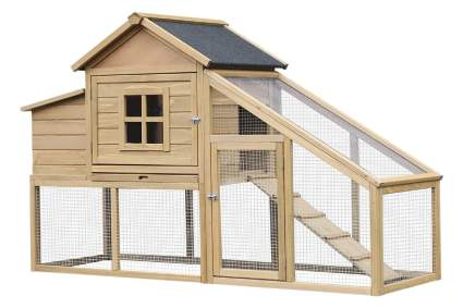PawHut Wooden Chicken Coop with Outdoor Run