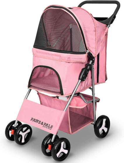 paws and pals folding dog stroller