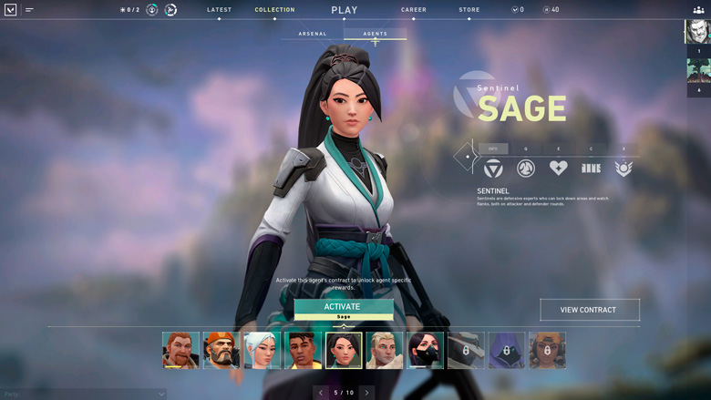 Sage agent select screen in Valorant