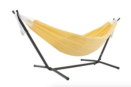 Vivere Double Polyester Hammock with Space Saving Stand