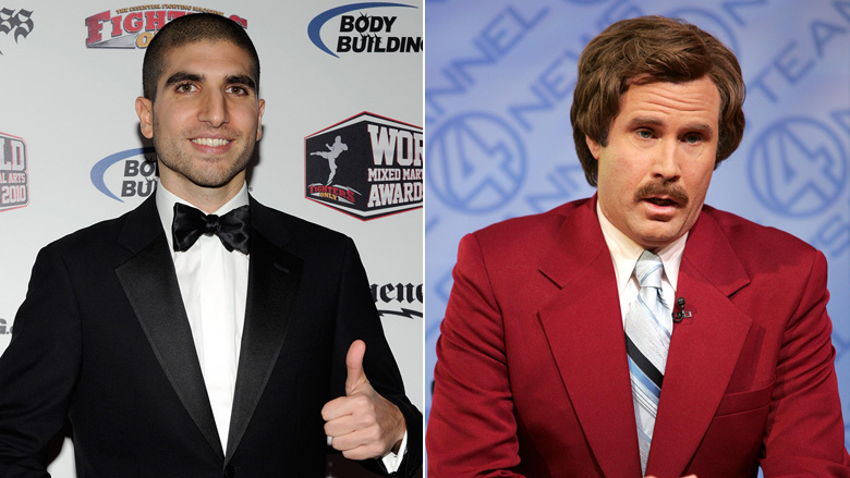 Sports Analyst Ariel Helwani left, News Anchor Ron Burgundy right
