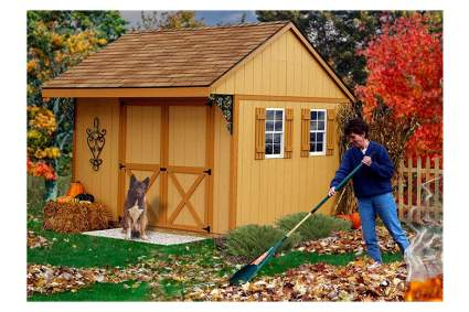 double door wooden storage shed