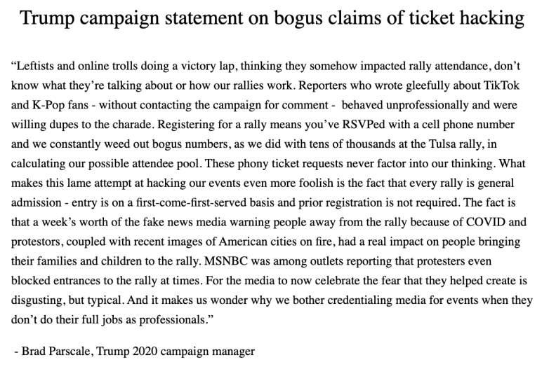 Trump's campaign mangager, tik tok trump rally