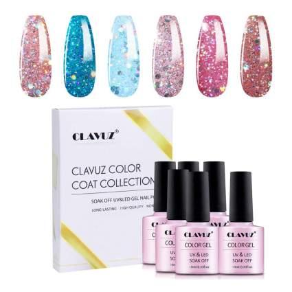 glittery gel polish by CLAVUZ