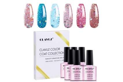 Glitter gel nail varnish bottles