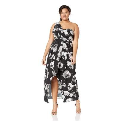 one shoulder plus size maxi dress