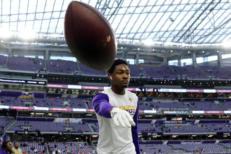 Stefon Diggs tossing a ball in pregame warmups