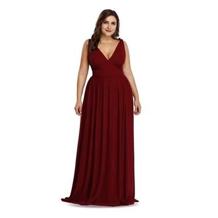red plus size v-neck maxi dress