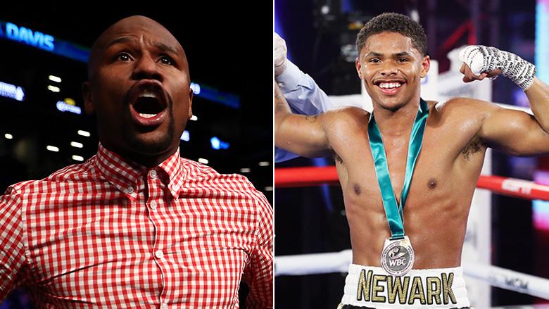 Boxing Icon Floyd Mayweather left, Boxing contender Shakur Stevenson right