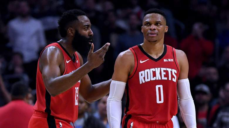 James Harden, at left, and Russell Wesbtrook of the Rockets