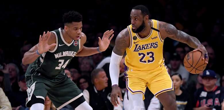 Giannis Antetokounmpo, Bucks, and LeBron James, Lakers
