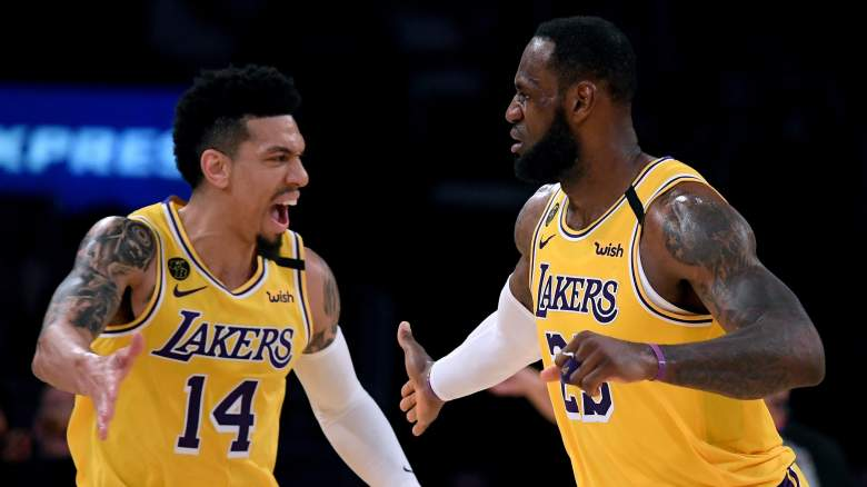 Danny Green, at left, celebrates with Lakers star LeBron James