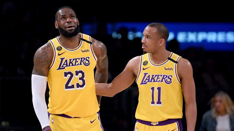 LeBron James, at left, and Lakers teammate Avery Bradley