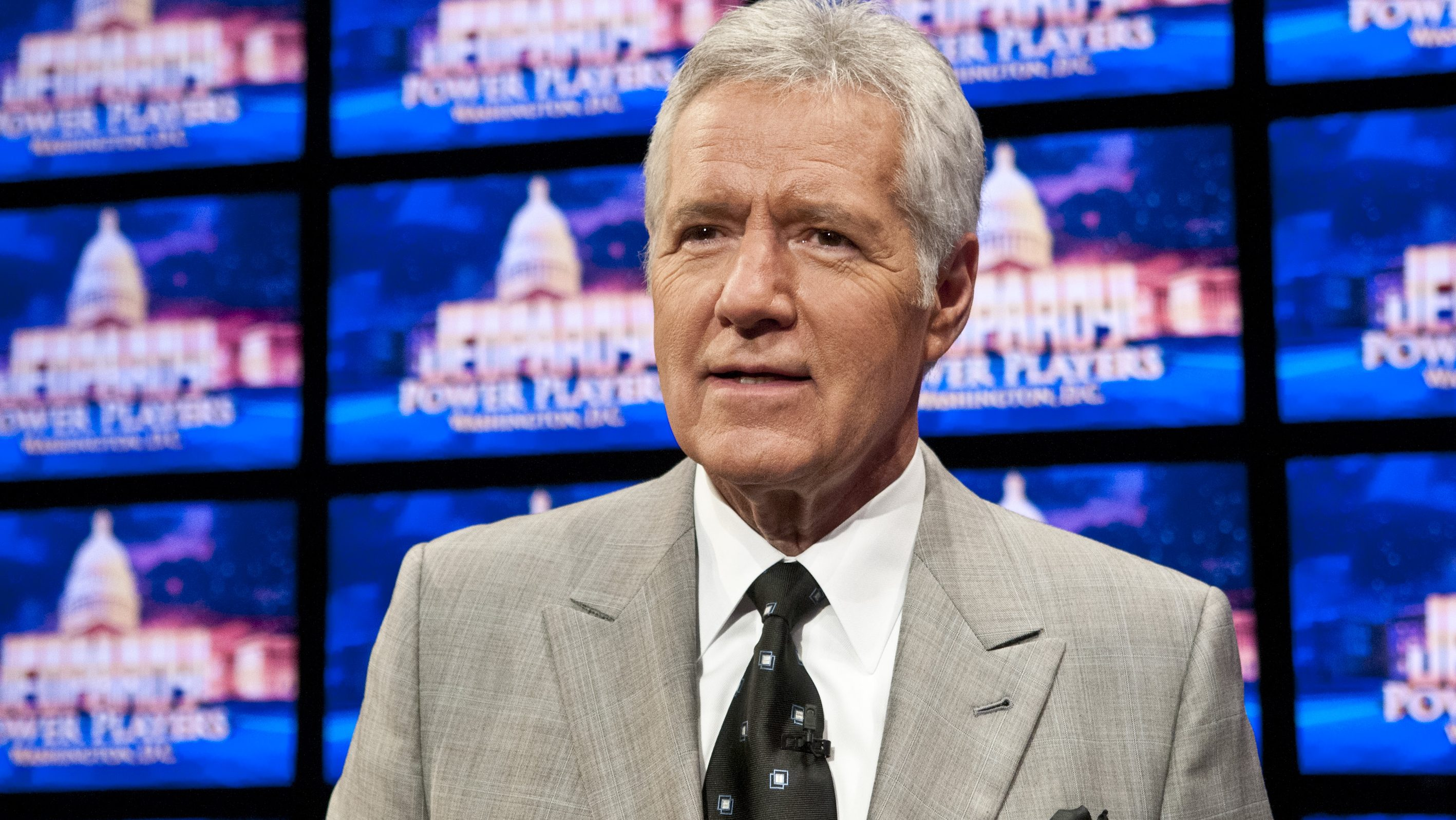 Alex Trebek at a taping of Jeopardy