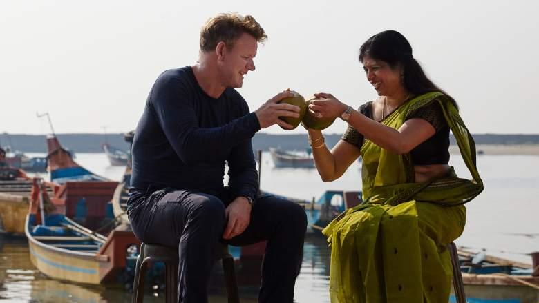 Kanur, India - L to R: Gordon Ramsay and Chef Shri Bala enjoy fresh coconut juice.