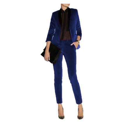 Woman in stylish dark blue velvet dress suit