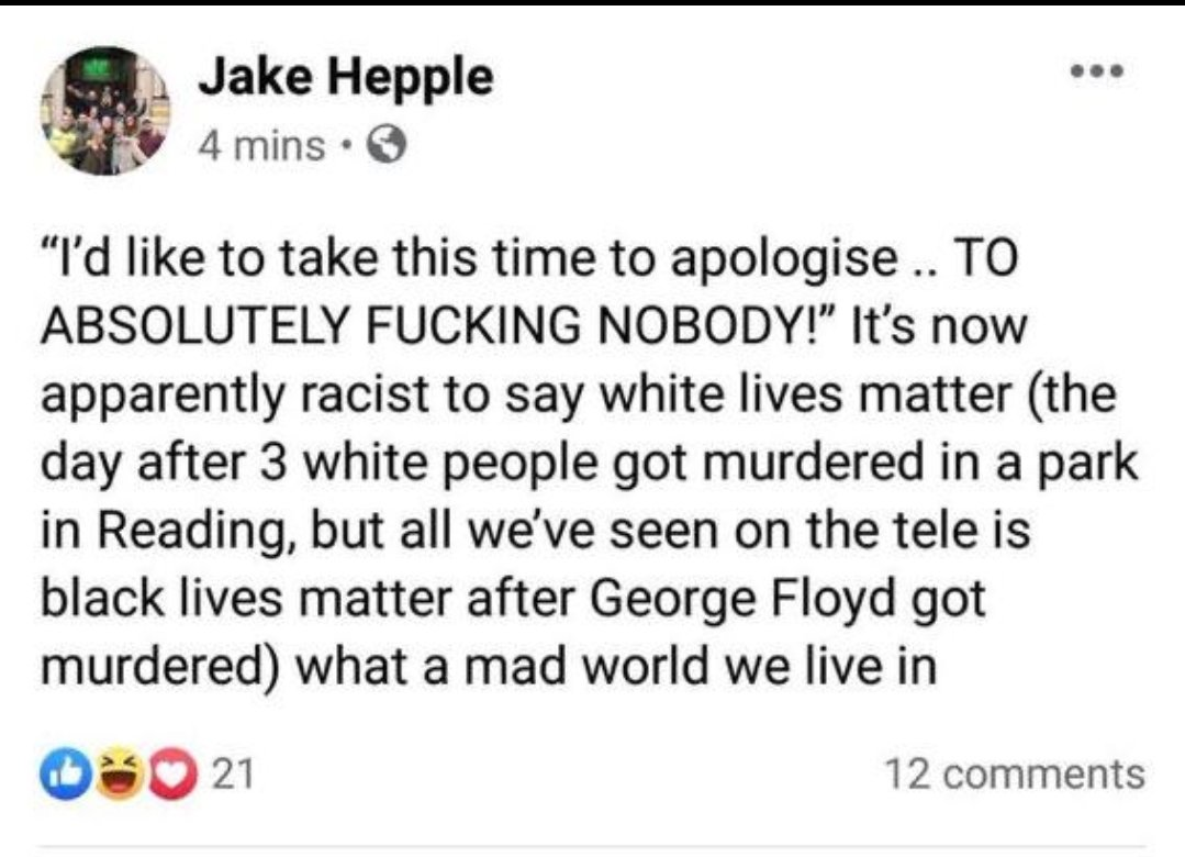 Jake Hepple's Facebook page