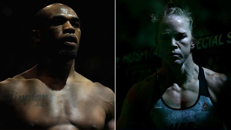 UFC Champ Jon Jones left, UFC Champ Holly Holm right