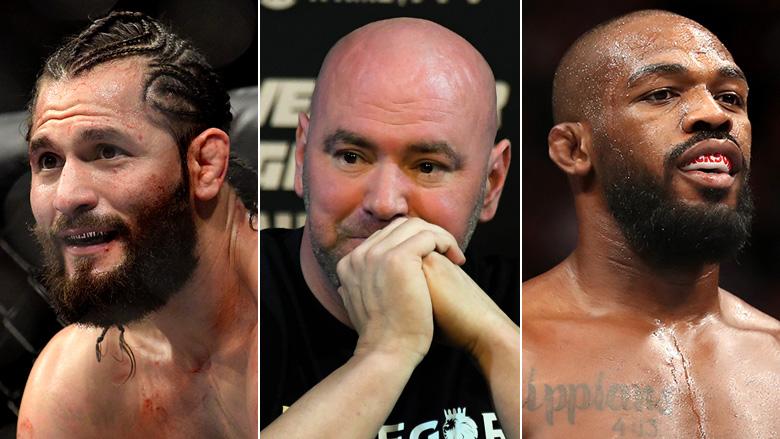 UFC President Dana White center, Jorge Masvidal left, Jon Jones right