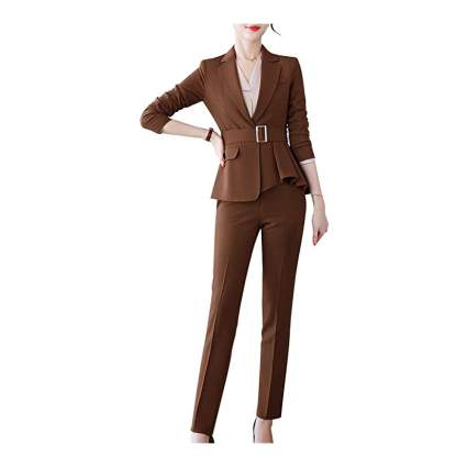 Woman in brown suit