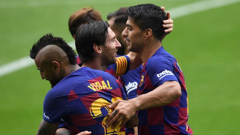 Lionel Messi and Luis Suarez